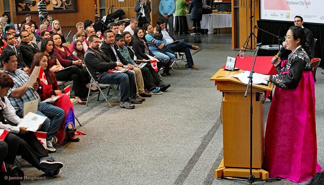 Jennifer giving speech at citizenship ceremony